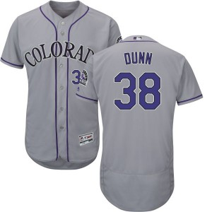Men's Majestic Colorado Rockies Mike Dunn Replica Gray Alternate Flex Base Collection Jersey with Commemorative Patch
