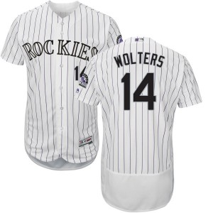 Youth Majestic Colorado Rockies Tony Wolters Replica White Home Flex Base Collection Jersey with Commemorative Patch